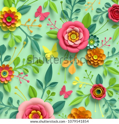 3d render, craft paper flowers, floral pattern, botanical ornament, bright candy colors, nature clip art isolated on mint green background, decorative embellishment