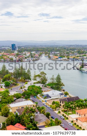 GOLD COAST, AUSTRALIA - January 2nd, 2014: view of the residential areas along the river and water inlets in Surfers Paradise, Gold Coast in Queensland #1079639738