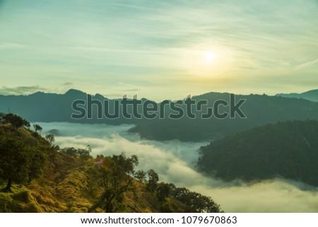 Landscape at cliff dawn in Zacatlan de las manzanas, Puebla #1079670863