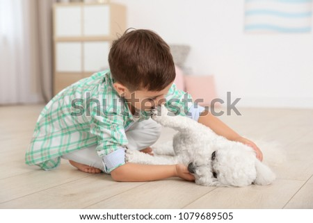 Little boy and bichon frise dog playing at home #1079689505