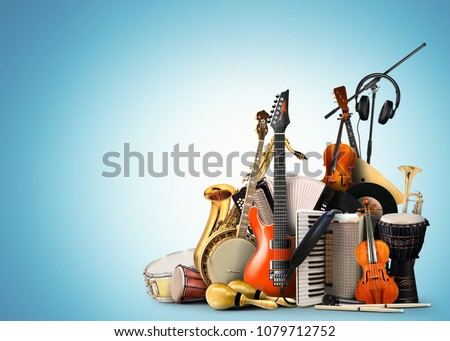 Musical instruments, orchestra or a collage of music Royalty-Free Stock Photo #1079712752
