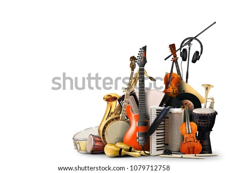 Musical instruments, orchestra or a collage of music Royalty-Free Stock Photo #1079712758