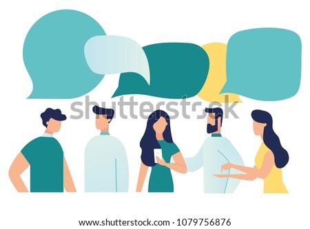 Vector illustration, flat style, businessmen discuss social network, news, social networks, chat, dialogue speech bubbles