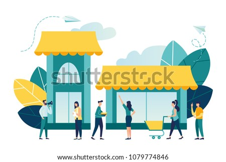Vector illustration, flat style, various shops, discounts, purchase of goods and gifts, investing in real estate, shopping concept vector