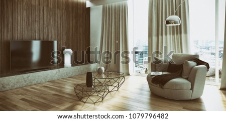 Modern bright interiors apartment 3D rendering illustration #1079796482