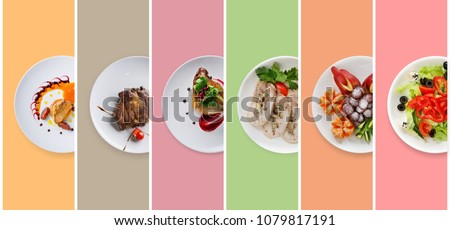 Set of various restaurant meals on colorful background. Collage of different main courses, meat and fish dishes with garnish, salads and desserts, business lunch concept, top view #1079817191