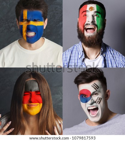 Emotional soccer fans with painted flags of Germany, Mexico, Sweden and South Korea on faces. Rooters of football worldcup competition between rival countries of group F. #1079817593