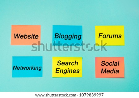online presence, internet, communication, social networks in business, website, forums, blogging, networking, search engines, social media. multicolored stickers