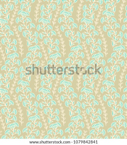 Seamelss vector floral pattern on white background #1079842841
