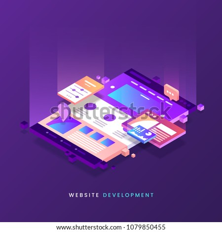 Website development vector illustration. Colorful Web page isometric icon. Modern landing page. Site building. Eps 10. #1079850455