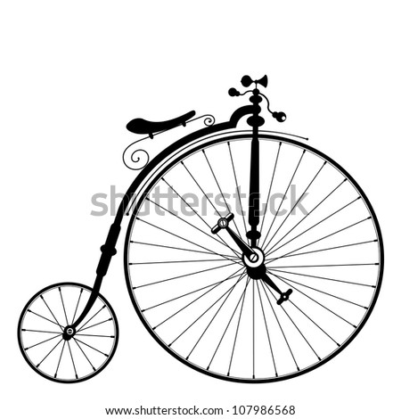 old bicycle template on clean white background