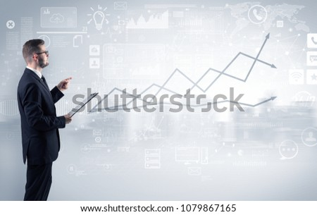 Adviser standing and presenting economical results of a global company #1079867165