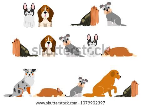 cute dogs border set #1079902397