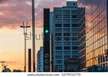 2018, april. Sao Paulo, Brazil. Sunset at Paulista Avenue, Sao Paulo, Brazil. #1079910770