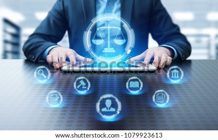 Labor Law Lawyer Legal Business Internet Technology Concept. #1079923613