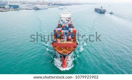 Container ship carrying container for import and export global business, Aerial view business logistic and transportation by container cargo freight ship in open sea, Freight cargo container maritime  #1079925902