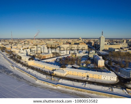 A view of the city of Arkhangelsk. Historical drawing-room courtyards and embankment. Russia, Arkhangelsk #1080053582
