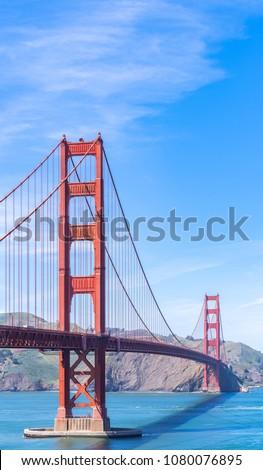 Golden Gate bridge in San Francisco California USA West Coast of Pacific Ocean #1080076895