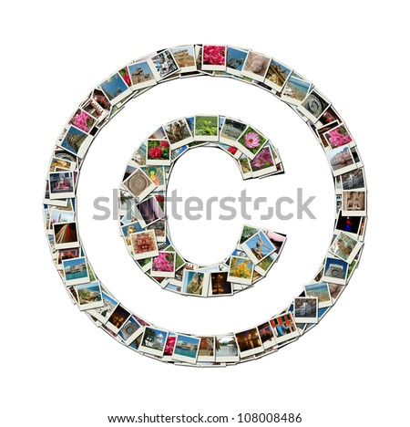 Copyright sign - conceptual illustration made like collage of travel photos, all photos are my own