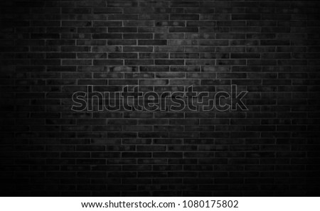 Black wall background The surface of the brick dark jagged. Abstract black wall background #1080175802