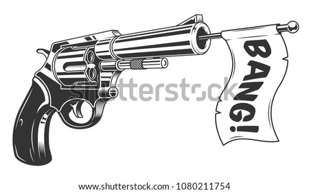 A gun with a bang flag. Vector illustration