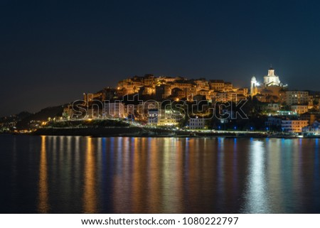 Imperia old town by night. Liguria region of Italy #1080222797