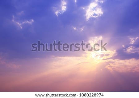 Dreamy purple sky background and sunlight with copy space. #1080228974