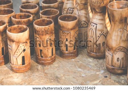 Wooden souvenir from Colonia del Sacramento, Uruguay. #1080235469