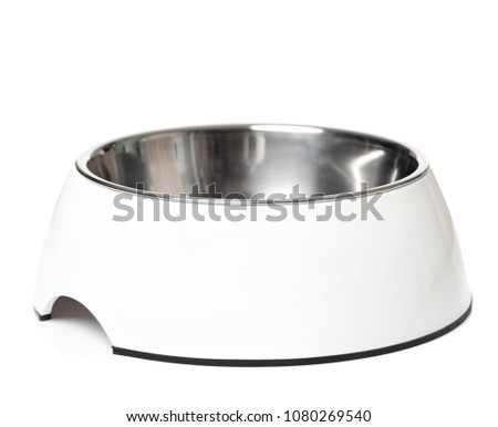 Empty pets bowl isolated on white background. Metal cat or dog bowl. #1080269540