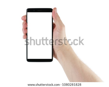 man hand holding smartphone with white screen isolated on white #1080281828