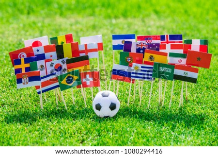 MOSCOW, RUSSIA - APRIL, 24, 2018: All nations flag of FIFA Football World Cup 2018 in Russia. Fans support concept photo. #1080294416