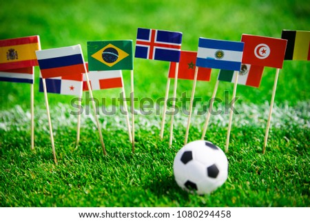 MOSCOW, RUSSIA - APRIL, 24, 2018: All nations flag of FIFA Football World Cup 2018 in Russia. Fans support concept photo. #1080294458