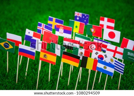 MOSCOW, RUSSIA - APRIL, 24, 2018: All nations flag of FIFA Football World Cup 2018 in Russia. Fans support concept photo. #1080294509