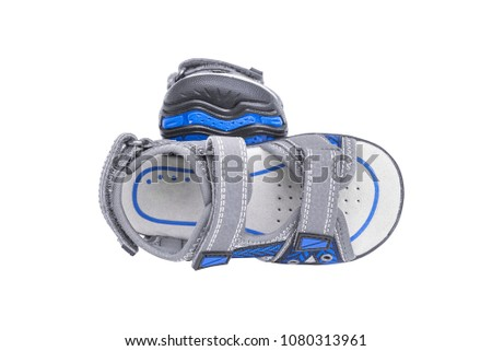 Children's sports sandals. Isolated on white background. #1080313961