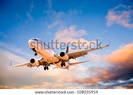 Place flying in sunset sky. Royalty-Free Stock Photo #108035954