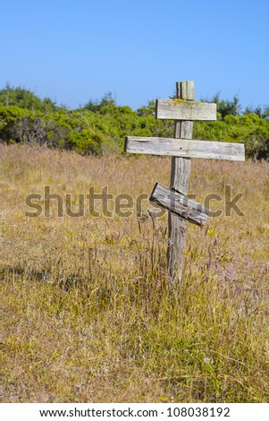 old wooden crosses at the historic orthodox cemetery of Fort Ross #108038192