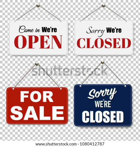 Open And Closed Signs Set Transparent Background With Gradient Mesh, Vector Illustration #1080412787