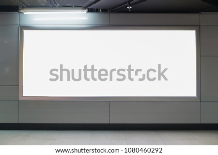 Large blank billboard on a street wall, banners with room to add your own text #1080460292