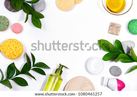 Spa background with Bath Accessories, Face and Body care. Set for personal care. Clean skin with brush, routine things. Spring picture on white background #1080465257