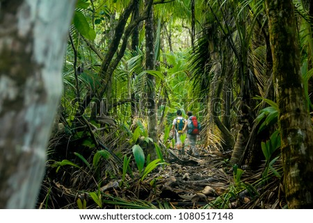 Two hikers make their way through the thick jungle of Corcovado National Park, Costa Rica #1080517148