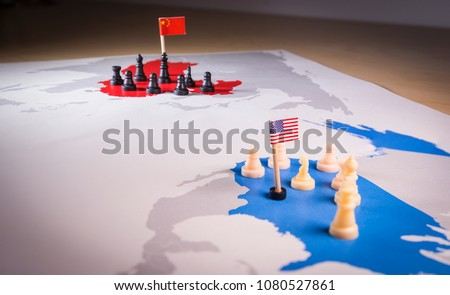 USA and China trade war concept. Tade war caused by the 2018 US tariffs on steel and aluminium #1080527861