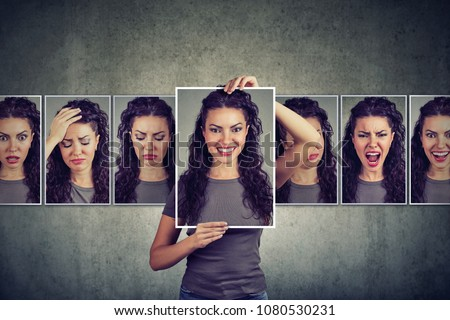 Masked young woman expressing different emotions  #1080530231