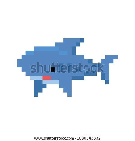 Pixelated cartoon shark - isolated vector illustration