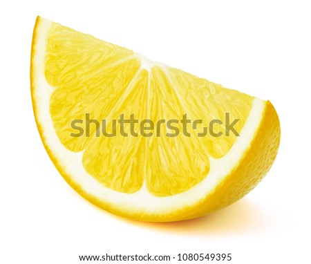 Perfectly retouched lemon fruit slice isolated on the white background with clipping path. One of the best isolated lemons slices that you have seen. #1080549395