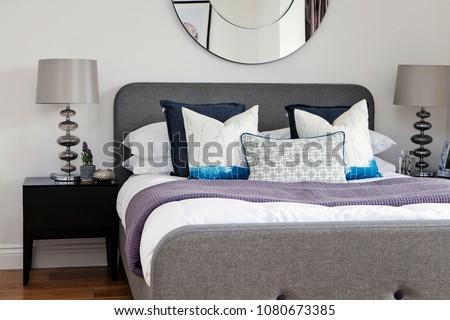 Interior of modern bedroom #1080673385