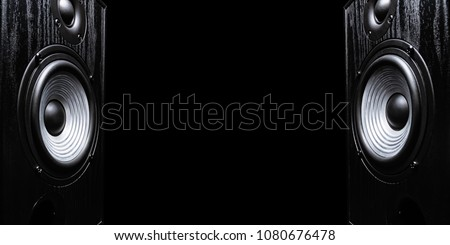 Two sound speakers with free space between them on black isolated background. #1080676478