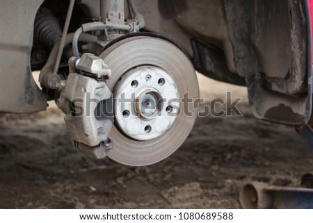 Brake disk and detail of a wheel hub #1080689588