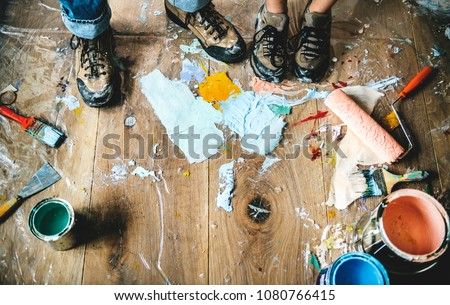 People renovating the house Royalty-Free Stock Photo #1080766415