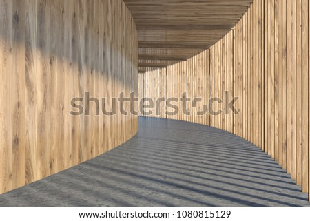Wooden wall hall of a round building with a concrete floor. Interior design concept. 3d rendering mock up #1080815129