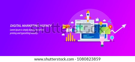 Concept for Digital marketing agency, digital media campaign flat vector illustration with icons Royalty-Free Stock Photo #1080823859
